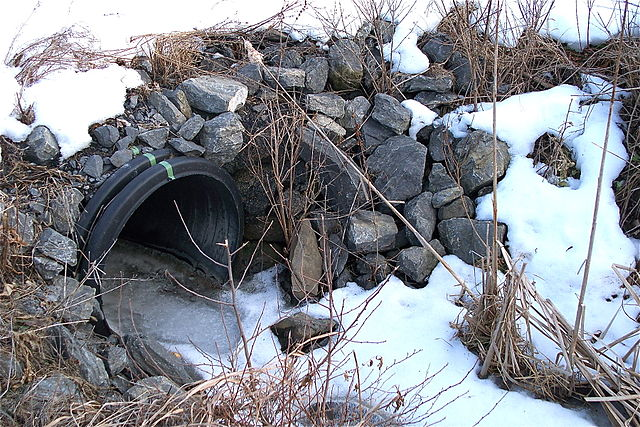 cold culvert with discharge - NOT in Fukushima