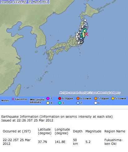 M5.2 offshore Fukushima  Tsunami warning
