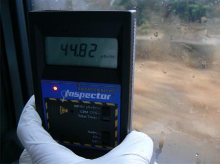 Inside of a car : 44.82 μSv/h
