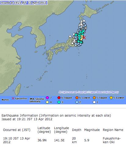 M5.9 and M4.5 continuously hit Fukushima2