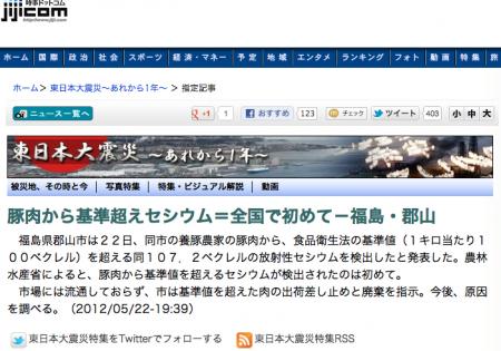 107.2 Bq/kg of cesium from Fukushima pork