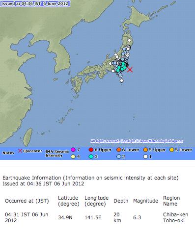 M6.3 Chiba offshore