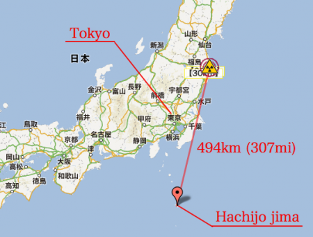 Cesium 134/137 found in Hachijo jima 494 km from Fukushima