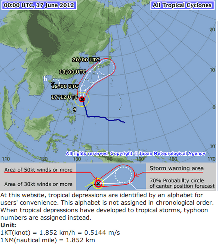 A very strong typhoon 04 is hitting Fukushima on 6/20/2012 6