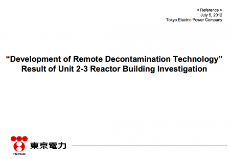 [Robot decontamination] 0.2 Sv/h on the first floor of reactor3