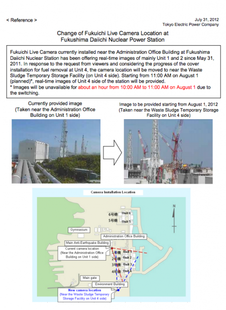Tepco is going to move the live camera
