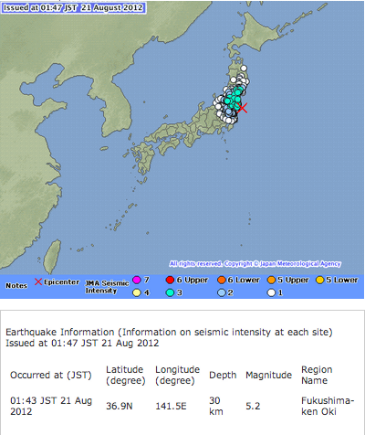 M5.2 earthquake hit Fukushima