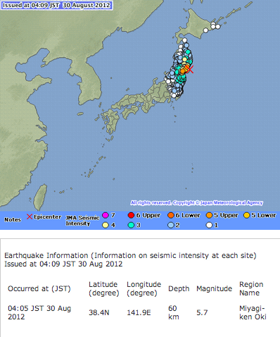 M5.7 and M4.2 hit eastern Japan continuously