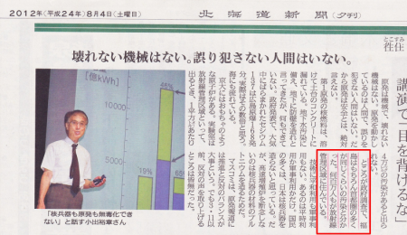 "Hokkaido newspaper ""Millions of people around in Tokyo area are living in radiation controlled area"" 2"