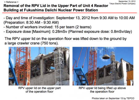 Tepco removed the RPV lid of reactor4