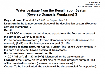 "Contaminated water leakage, ""βray dose was 1.33 mSv/h on its surface"""