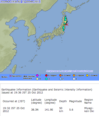 "M5.6 hit Miyagi, ""Scale 4 in the coastal area of Fukushima"""