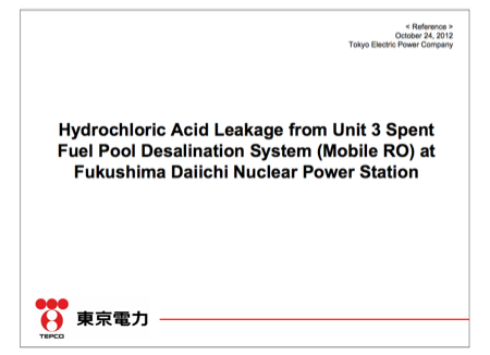 Hydrochloric acid leaked from SFP3 desalination system
