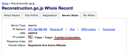IP location of Reconstruction Agency is Toshiba corporation