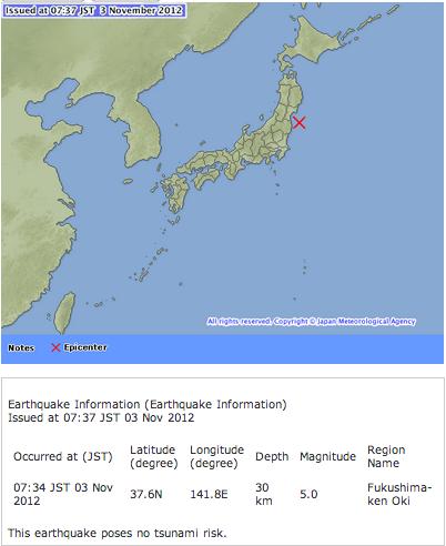 M5.0 hit Fukushima offshore