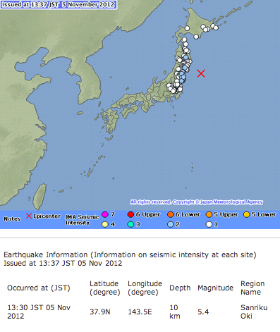 M5.4 hit North Japan offshore (Sanriku oki)