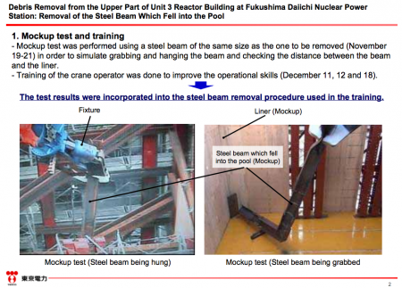 2 Mockup test of removing the steel beam that Tepco dropped into the SFP in reactor3