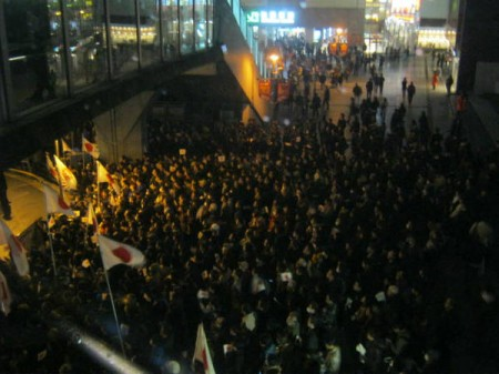 [The night before fascism arise] Crowd gathered for Abe's speech of LDP,