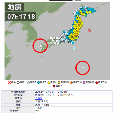 M7.3 caused scale1 even in Saga prefecture Kyushu and Ogasawara islands