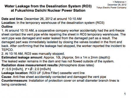 "2 Another water leakage from desalination system, ""2.0 mSv/h of atmospheric dose"""