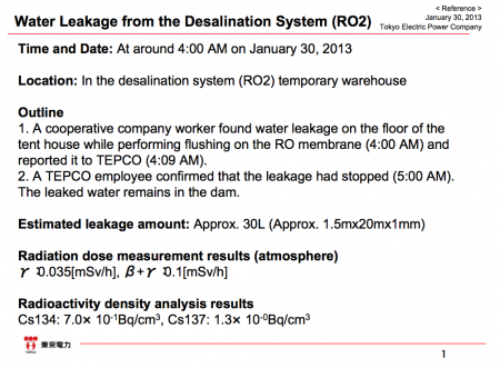 Leakage from the desalination system again