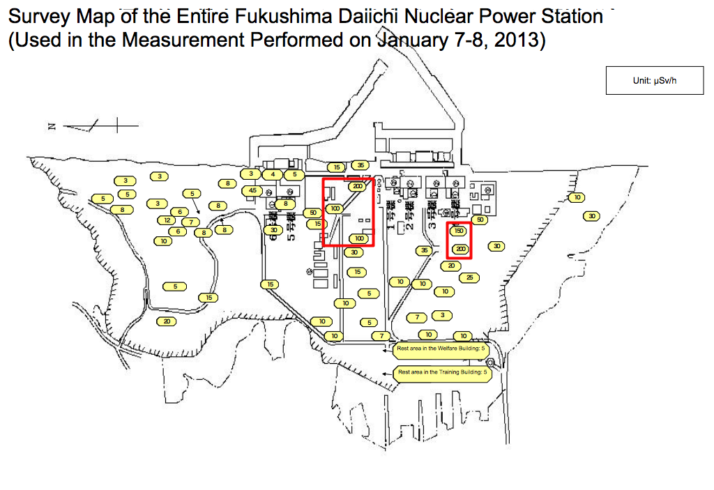 Tepco released the latest survey map of Fukushima plant, 200μSv/h from the west of reactor4