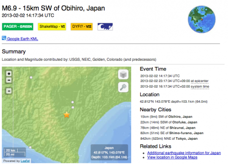 "2 USGS reported the Japanese ""M6.4"" as M6.9"