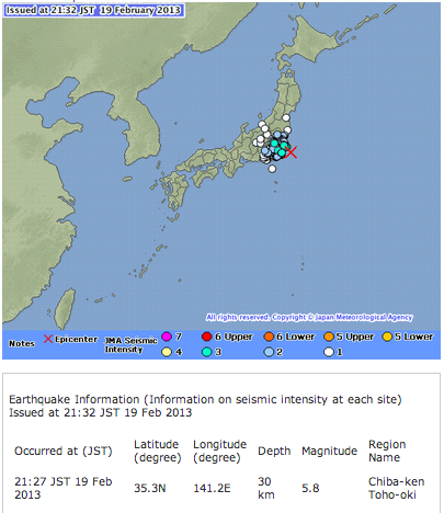 M5.8 hit offshore Chiba
