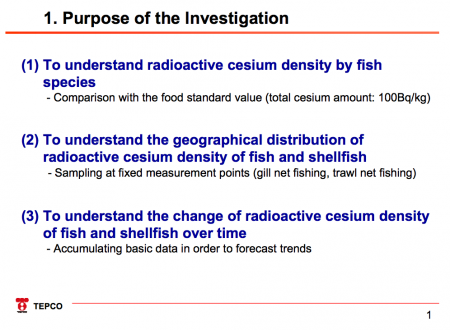 Tepco's report about fishery products contamination in 20km sea area
