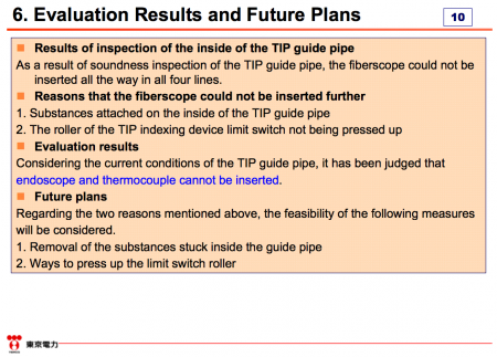 "9 Tepco failed in installing thermometers into reactor2, ""4 fiberscopes all stuck in the pipe"""