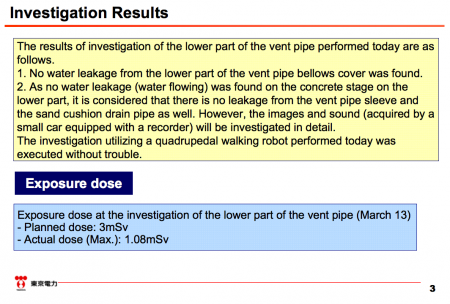 "4 Robot investigated the lower part of the vent pipe of reactor2, ""No water leakage was found"""