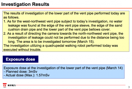 "8 Robot investigated the lower part of the vent pipe of reactor2, ""No water leakage was found"""