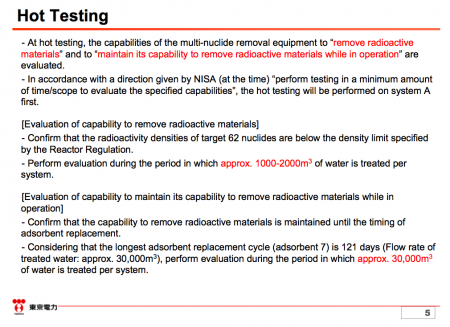 6 Tepco to start the hot test of ALPS, the multiple nuclide purification system on 3/30/2013