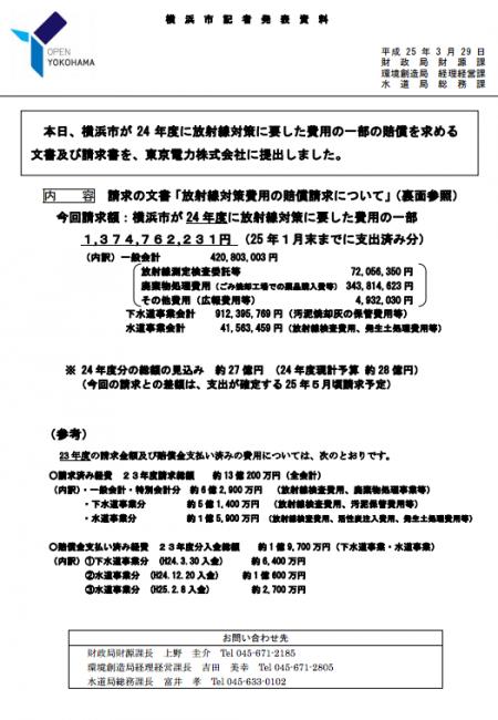 Yokohama city gov to ask Tepco for 3 billion yen of compensation for 2012