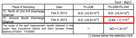 """Pu-239/240 measured from seawater of Fukushima plant, Tepco """"within the range of past readings"""""""