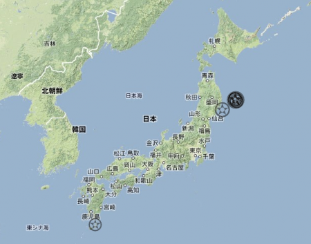 2 13 quakes hit offshore Sanriku on 4/2/2013, all 10km deep