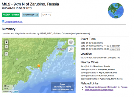 2 4/5/2013 M6.2 occurred near the border of N. Korea, Russia and China