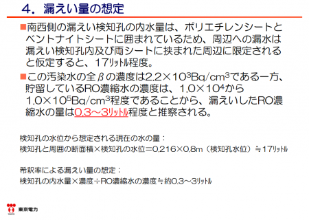 "Tepco ""It was 0.3 ~ 3L that leaked from reservoir No.3"""