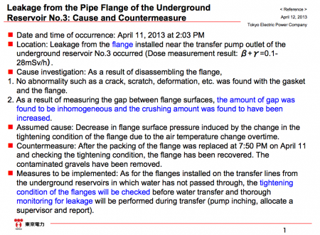 "Tepco, ""The pump leakage was caused by the change of air temperature, countermeasure is ""patrol"" """