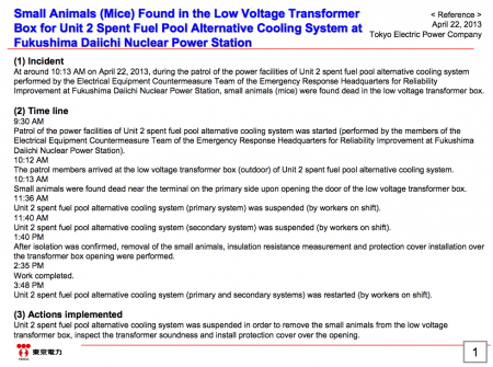Tepco stopped coolant system of SFP reactor2 for finding TWO rats in power transformer