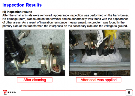 6 Tepco stopped coolant system of SFP reactor2 for finding TWO rats in power transformer