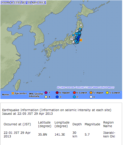 M5.7 hit east offshore of Metropolitan area
