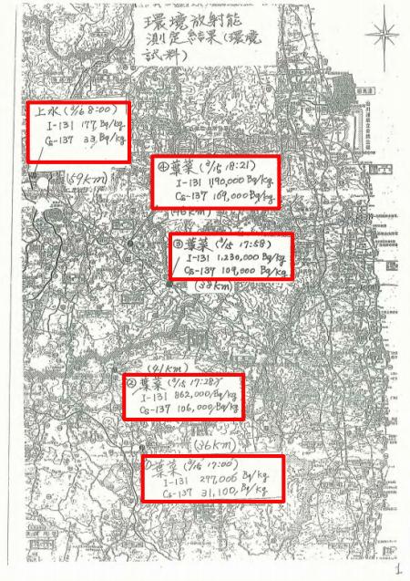 1,230,000 Bq/Kg of I-131 was measured from vegetation on 3/15/2011