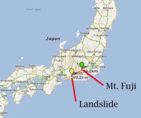 [Sign of Mt. Fuji activity?] Large landslide happened in 100km from Mt. Fuji, 80m high, 70m wide