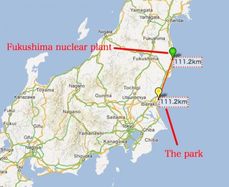 """1.16 μSv/h in Hitachi seaside park in Ibaraki, """"111km from Fukushima nuclear plant"""""""