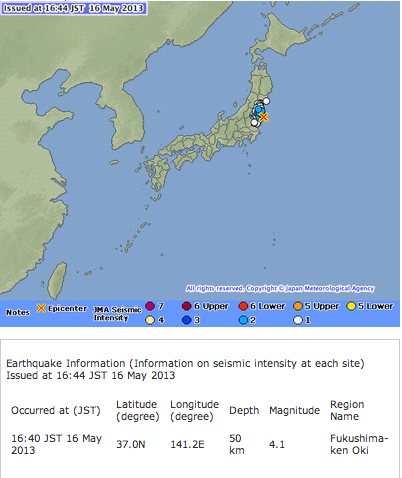 2 Japan Meteorological Agency skipped reporting M4.1 off the coast of Sanriku at 17:03 of 5/16/2013