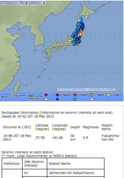 M5.9 hit Fukushima offshore at 14:48 5/18/2013 (JST)