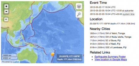 2 M8.3 hit Sakhalin 12 hours after M7.4 hit Fiji