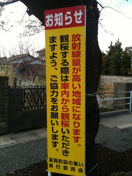 "[Express] ""Notice, please view cherry blossoms from inside of the car because the radiation level is too high"""