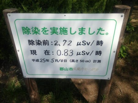 "[Express] ""Children play soccer in the park of Koriyama, 0.83μSv/h after decontamination"""